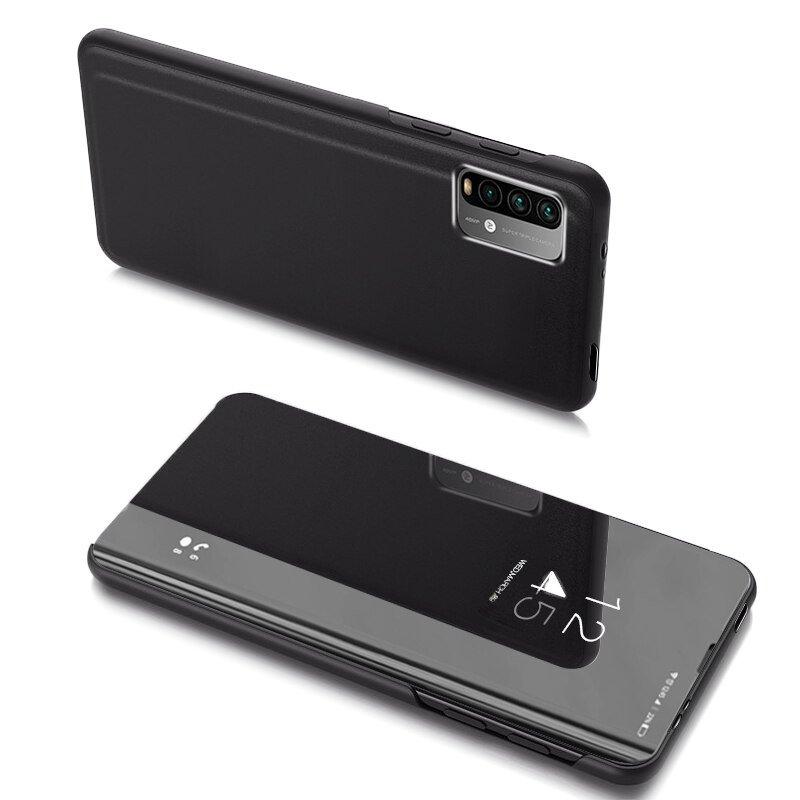 Knižkove púzdro pre Xiaomi Redmi 9T / Poco M3 black s priehľadnou prednou stranou