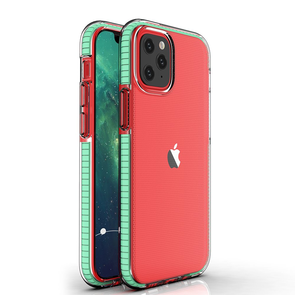 Spring silikonové pouzdro s barevným lemem na iPhone 12 / 12 Pro mint