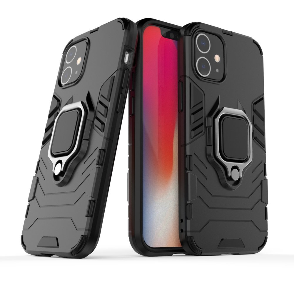 """Hybrid pancierové polykarbonátové púzdro s krúžkom pre iPhone 12 Mini 5,4"""" black"""
