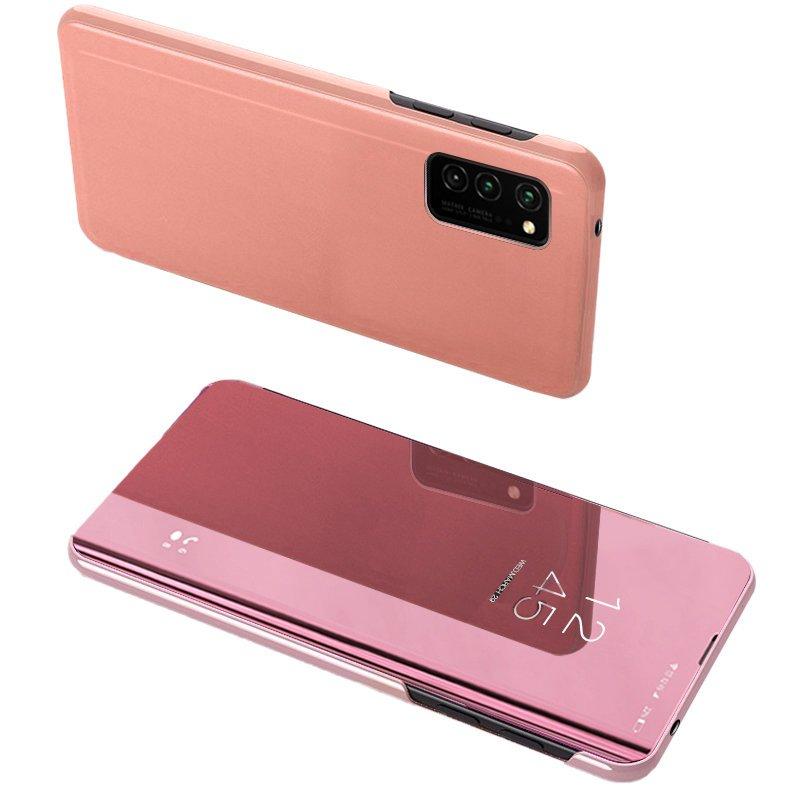 Knižkove púzdro pre Samsung Galaxy A52 pink s priehľadnou prednou stranou