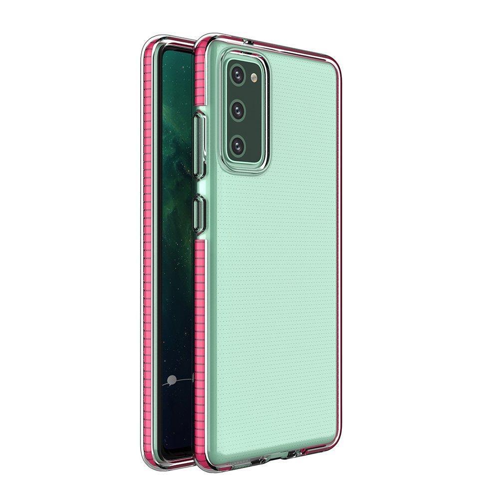 Spring silikónové puzdro s farebným lemom pre Samsung Galaxy A12/M12 pink