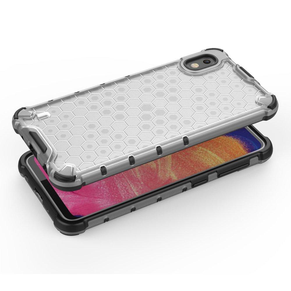 Honeycomb pancéřové pouzdro se silikonovým rámem pro Samsung Galaxy A10 red