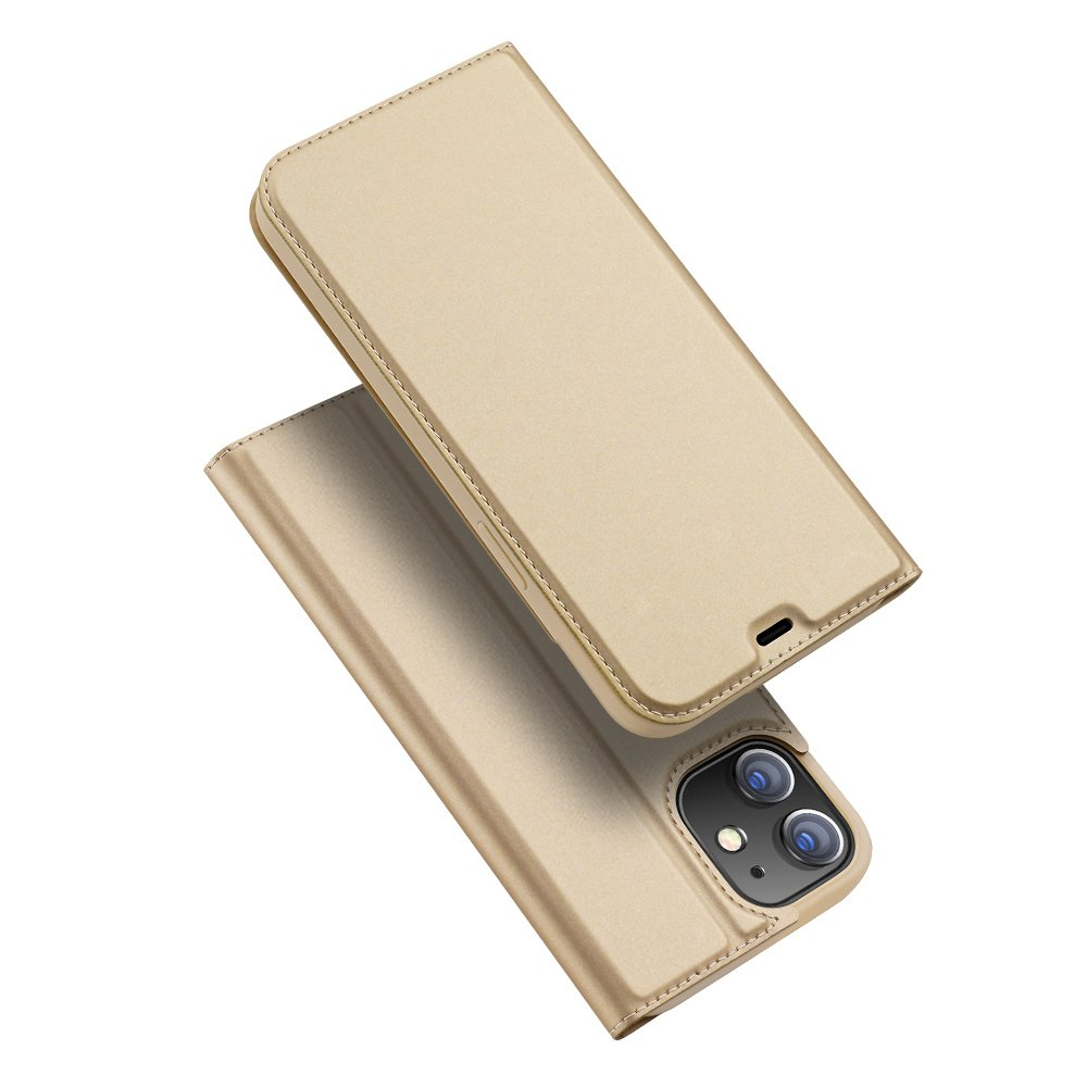 DUX DUCIS Skin knížkové pouzdro na iPhone 12 / 12 Pro gold