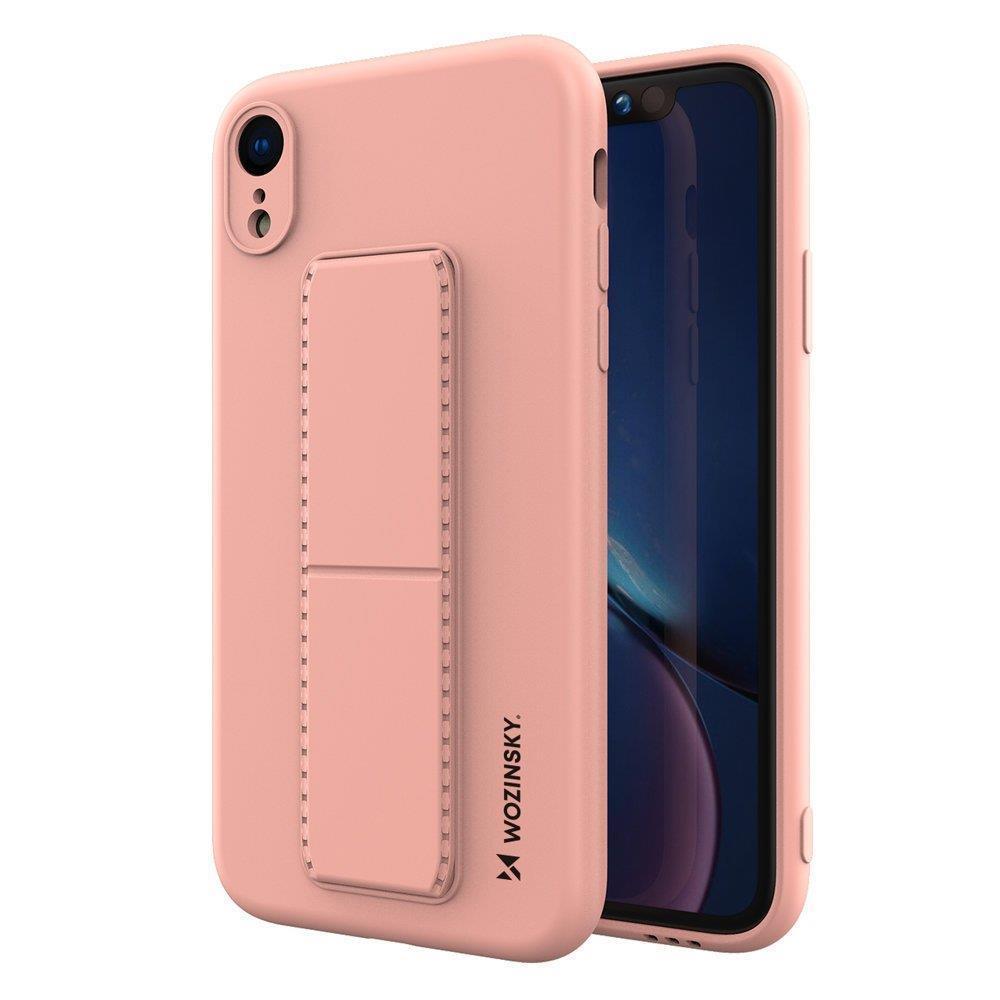 Wozinsky Flexibilné silikónové puzdro so stojanom na iPhone XR pink