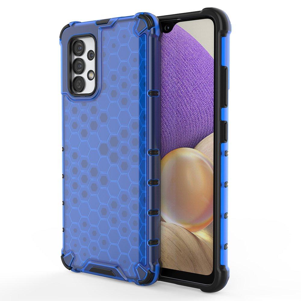 Honeycomb pancéřové pouzdro se silikonovým rámem pro Samsung Galaxy A32 4G blue