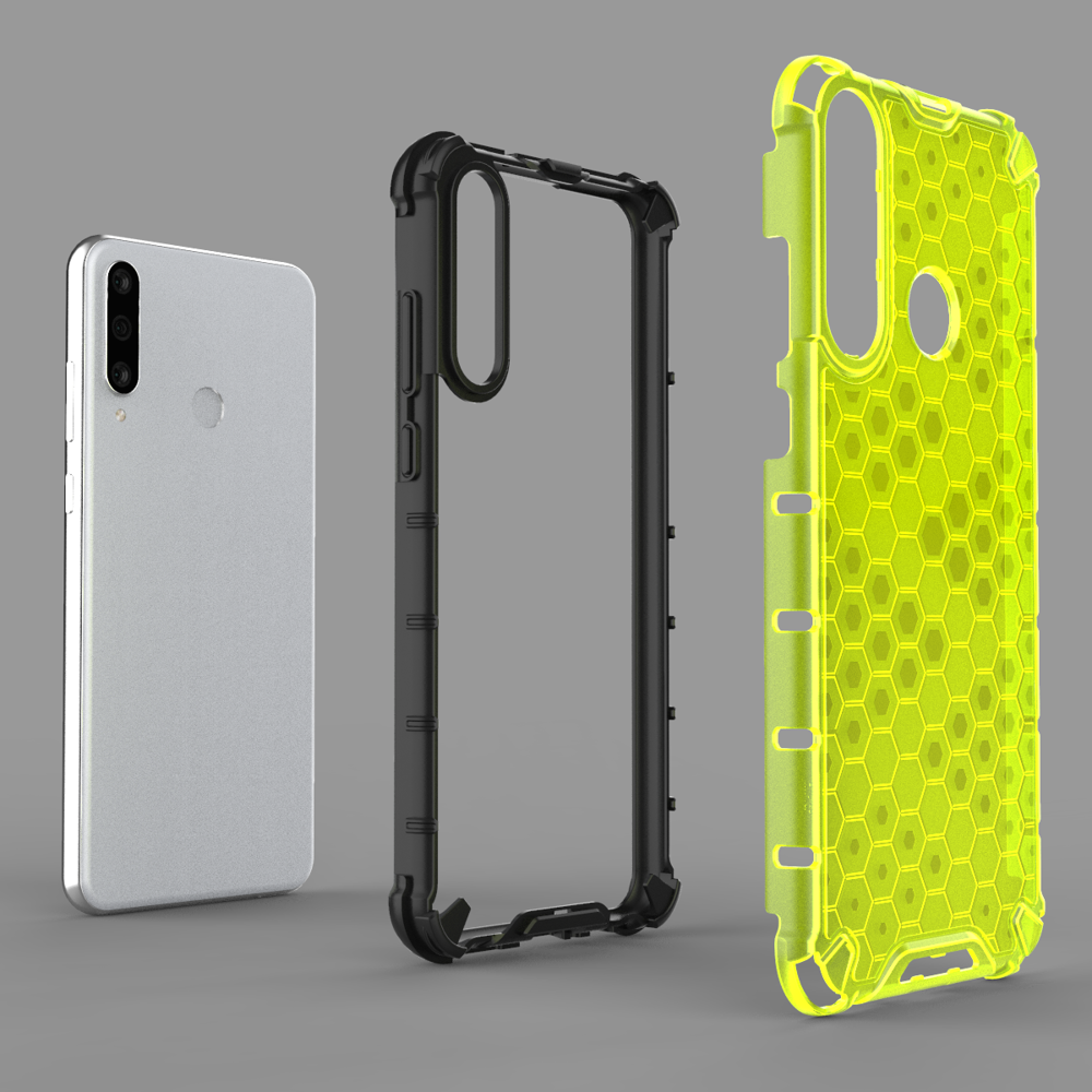 Honeycomb pancéřové pouzdro se silikonovým rámem pro Huawei Y6p transparent