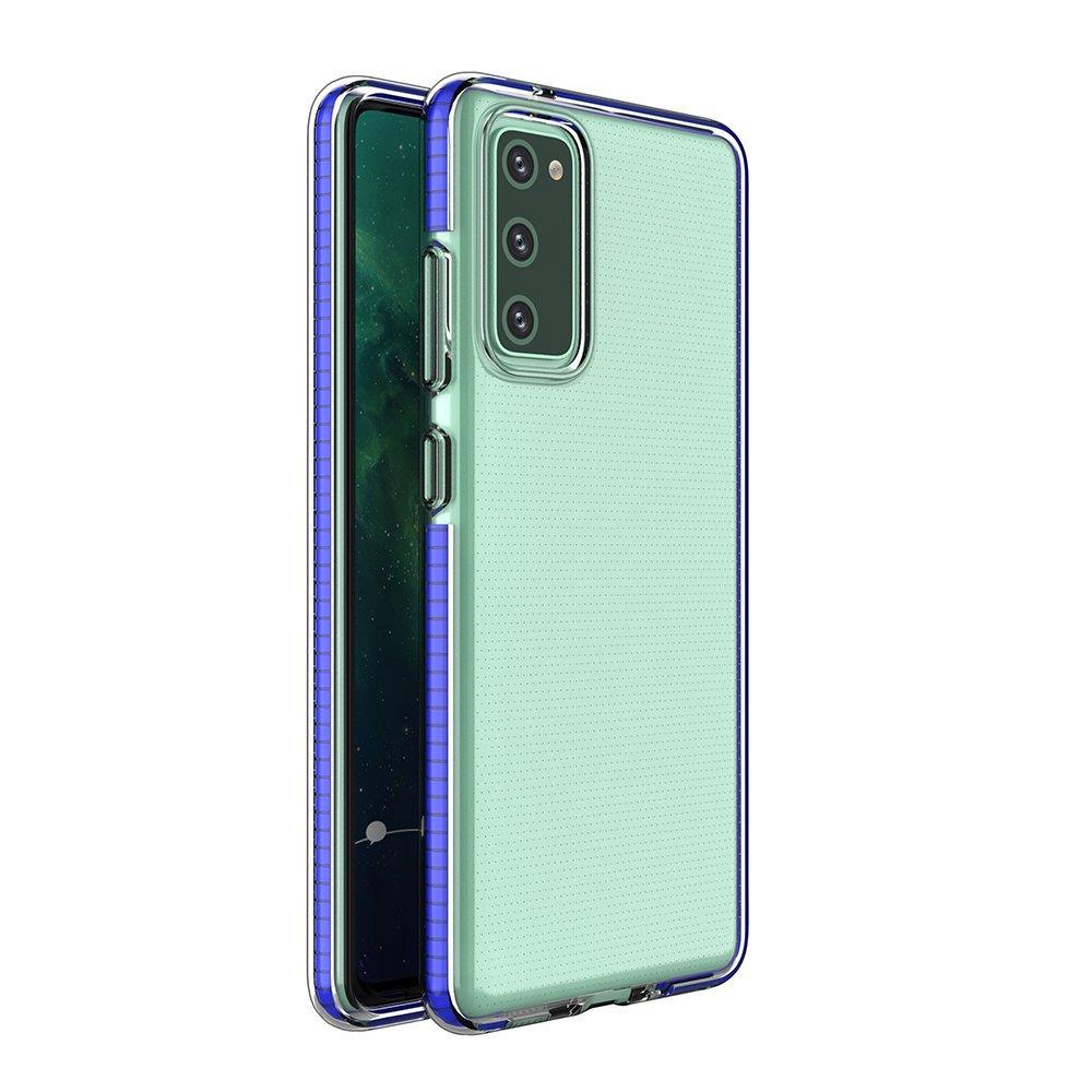 Spring silikónové puzdro s farebným lemom pre Samsung Galaxy S21 5G blue