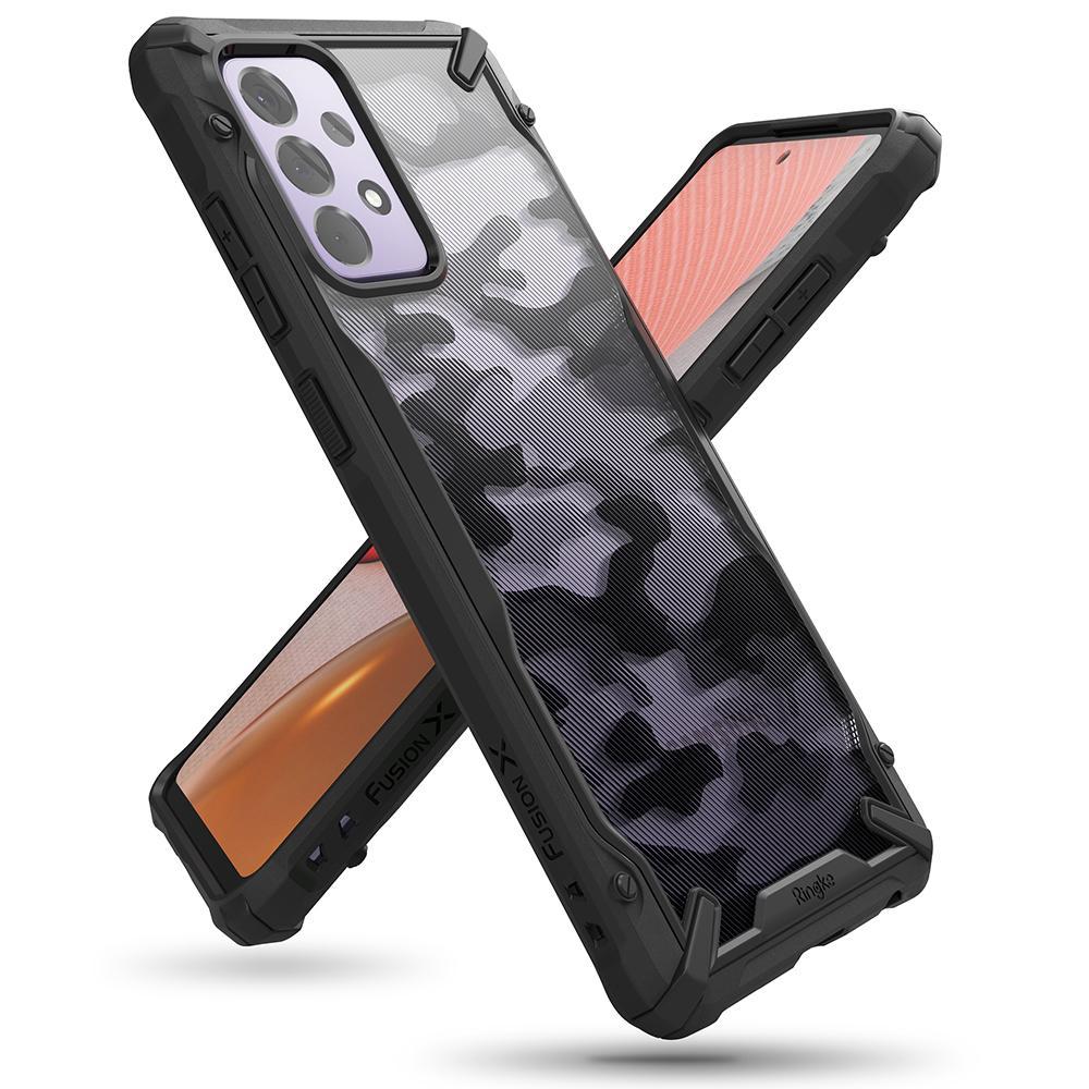 Ringke Fusion X design pancéřové pouzdro na Samsung Galaxy A72 Camo Black