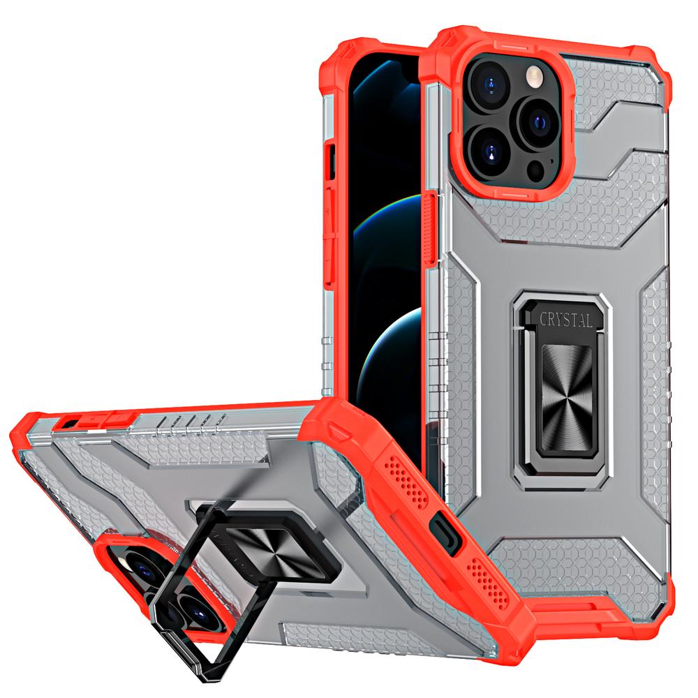 Pevný robustný kryt puzdra na krištáľový krúžok pre iPhone 13 Pro Max červený