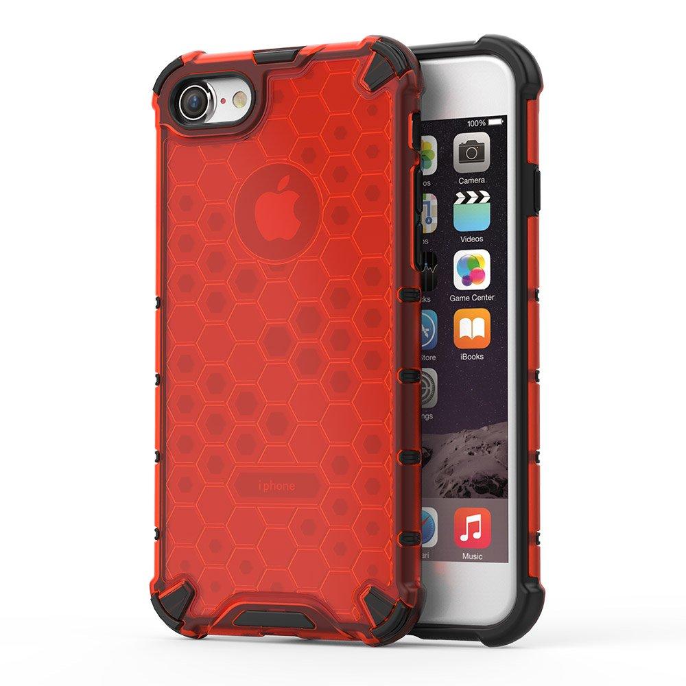 Honeycomb pancéřové pouzdro se silikonovým rámem pro iPhone 8 / iPhone 7 red