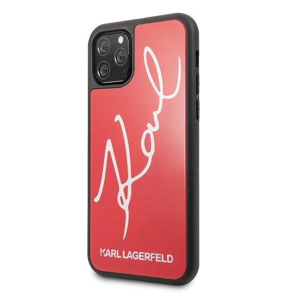 Karl Lagerfeld KLHCN58DLKSRE hard silikonové pouzdro iPhone 11 Pro red Signature glitter