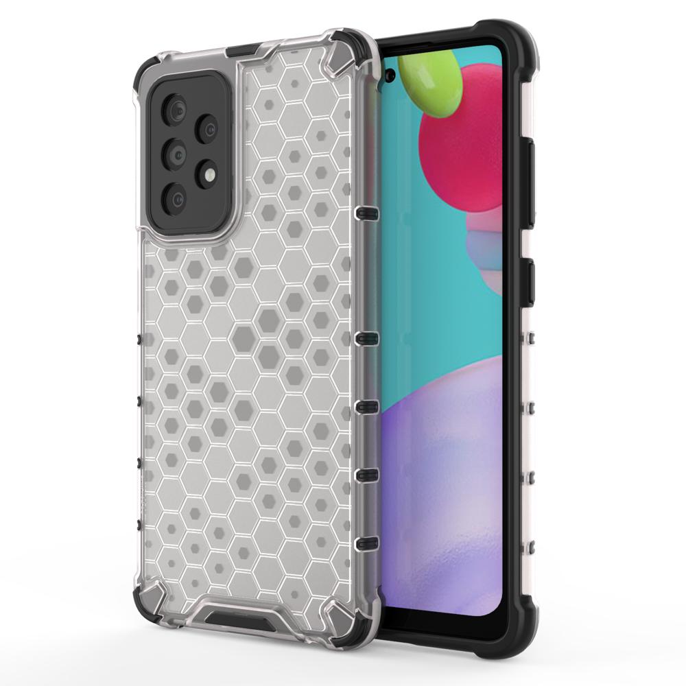 Honeycomb pancierové puzdro so silikónovým rámom pre Samsung Galaxy A52 transparent