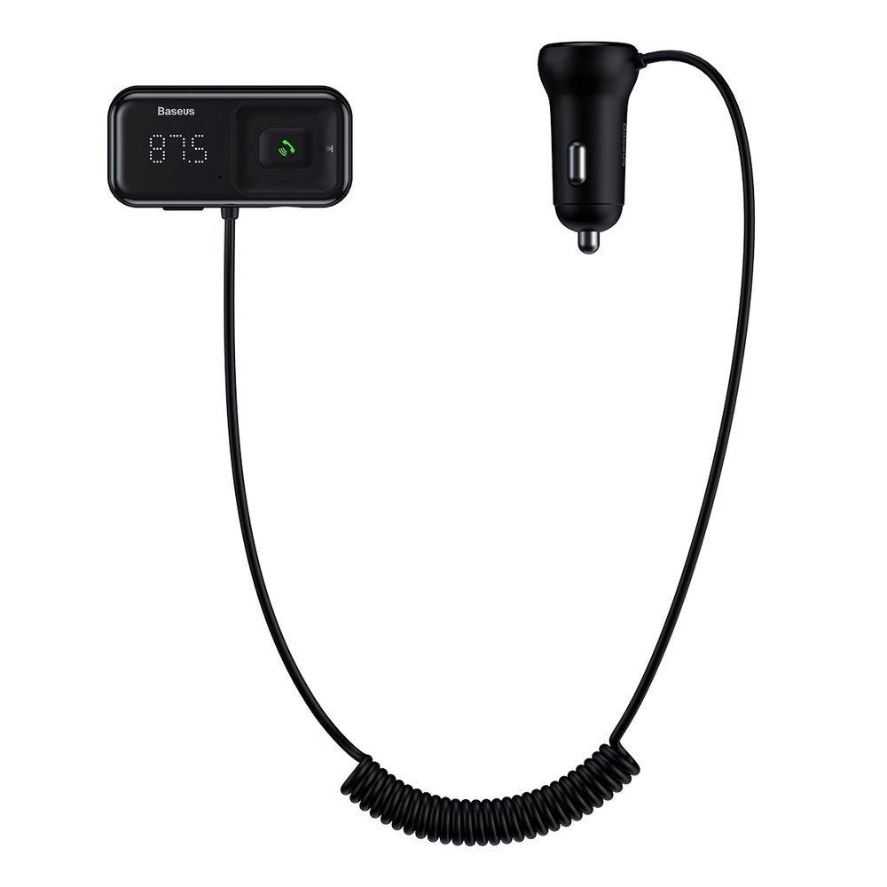 Baseus S-16 Transmiter FM Bluetooth 5.0 2x USB, AUX MP3 TF micro SD 3,1 A , černá (CCTM-E01)