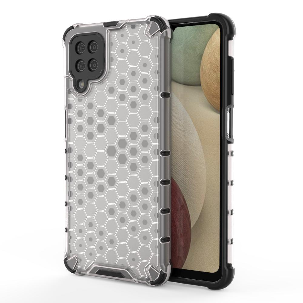 Honeycomb pancierové puzdro so silikónovým rámom pre Samsung Galaxy A12/M12 transparent