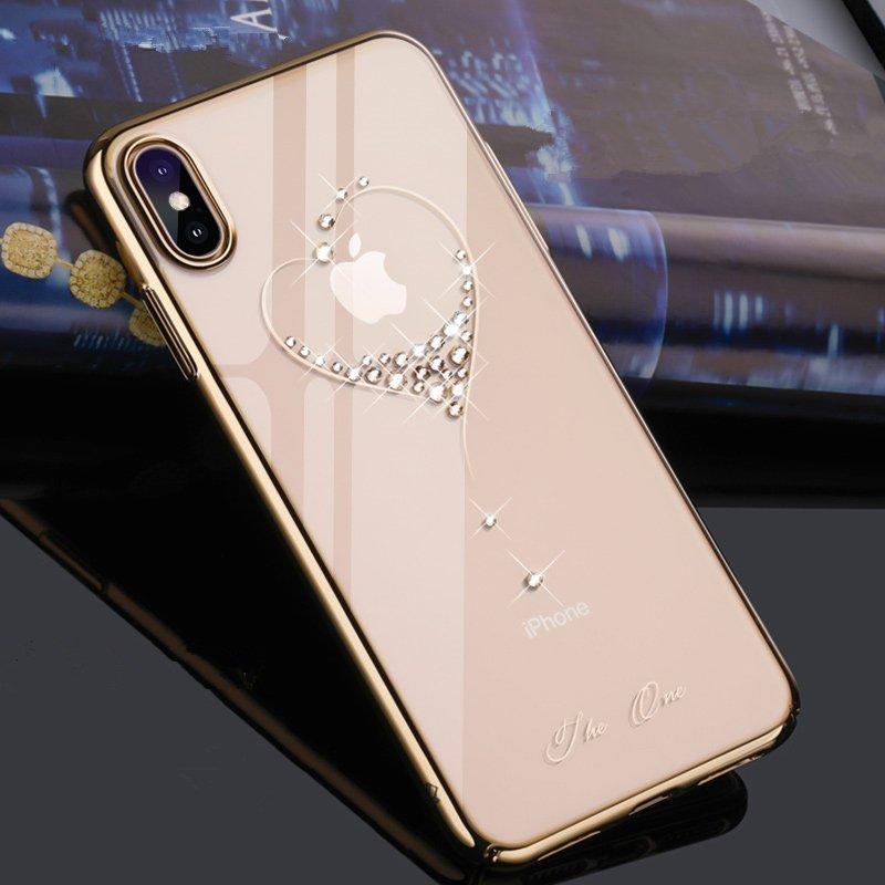 Kingxbar Wish Series silikonové pouzdro s original Swarovski crystals pro iPhone 11 golden