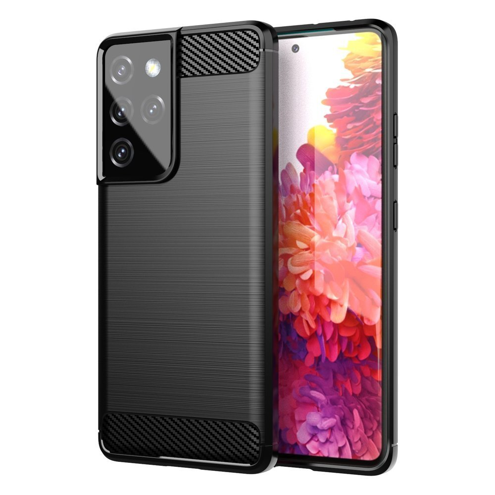 Carbon silikónové puzdro na Samsung Galaxy S21 ULTRA 5G black