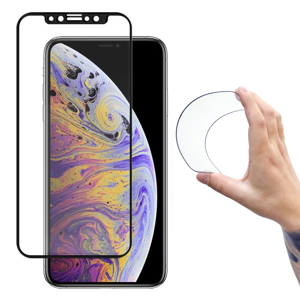 Wozinsky Celoplošné Flexi Nano Hybrid tvrzené sklo 9H na iPhone 12 / 12 Pro black