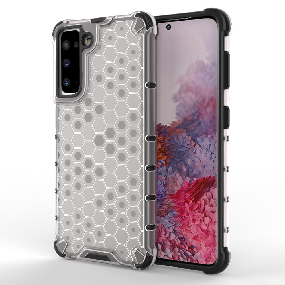 Honeycomb pancierové puzdro so silikónovým rámom pre Samsung Galaxy S21 5G transparent