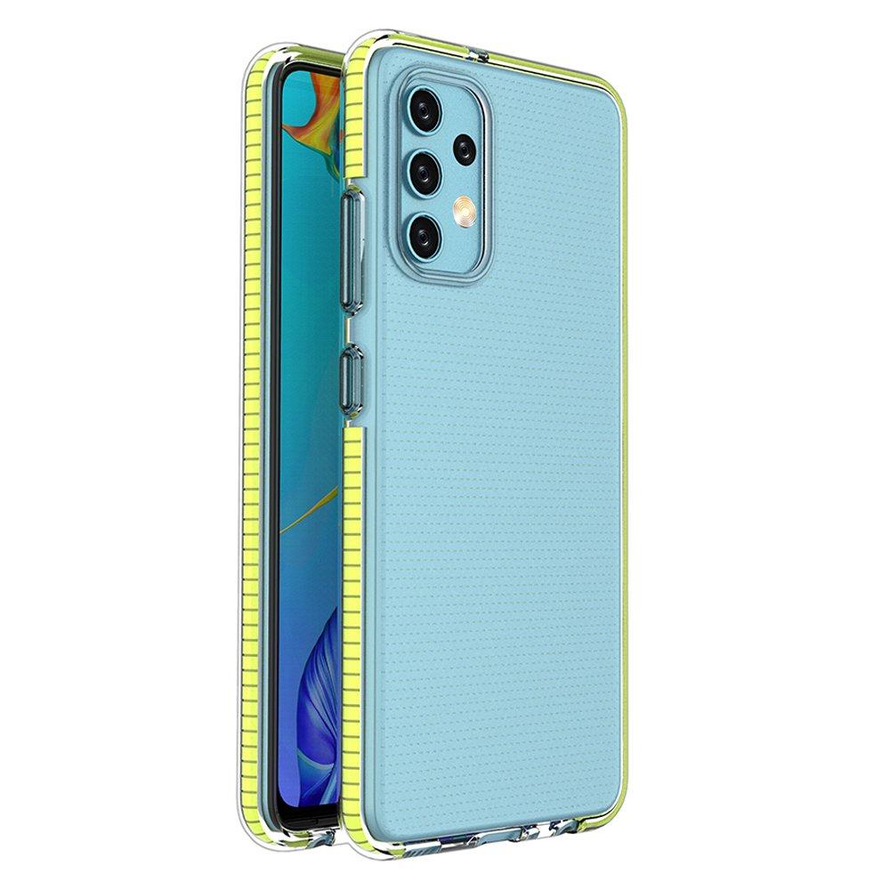 Spring silikonové pouzdro s barevným lemem na Samsung Galaxy A32 4G yellow