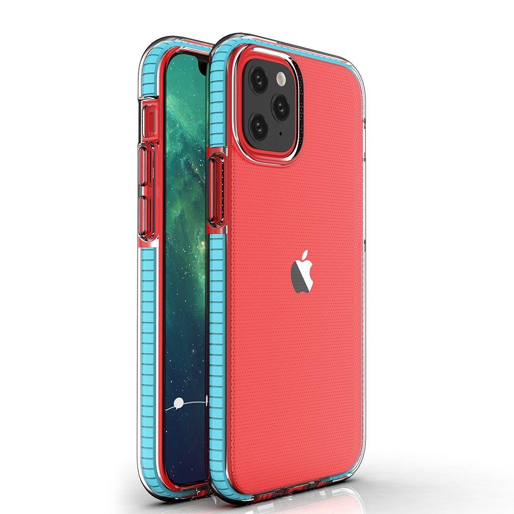 Spring silikonové pouzdro s barevným lemem na iPhone 12 / 12 Pro light blue