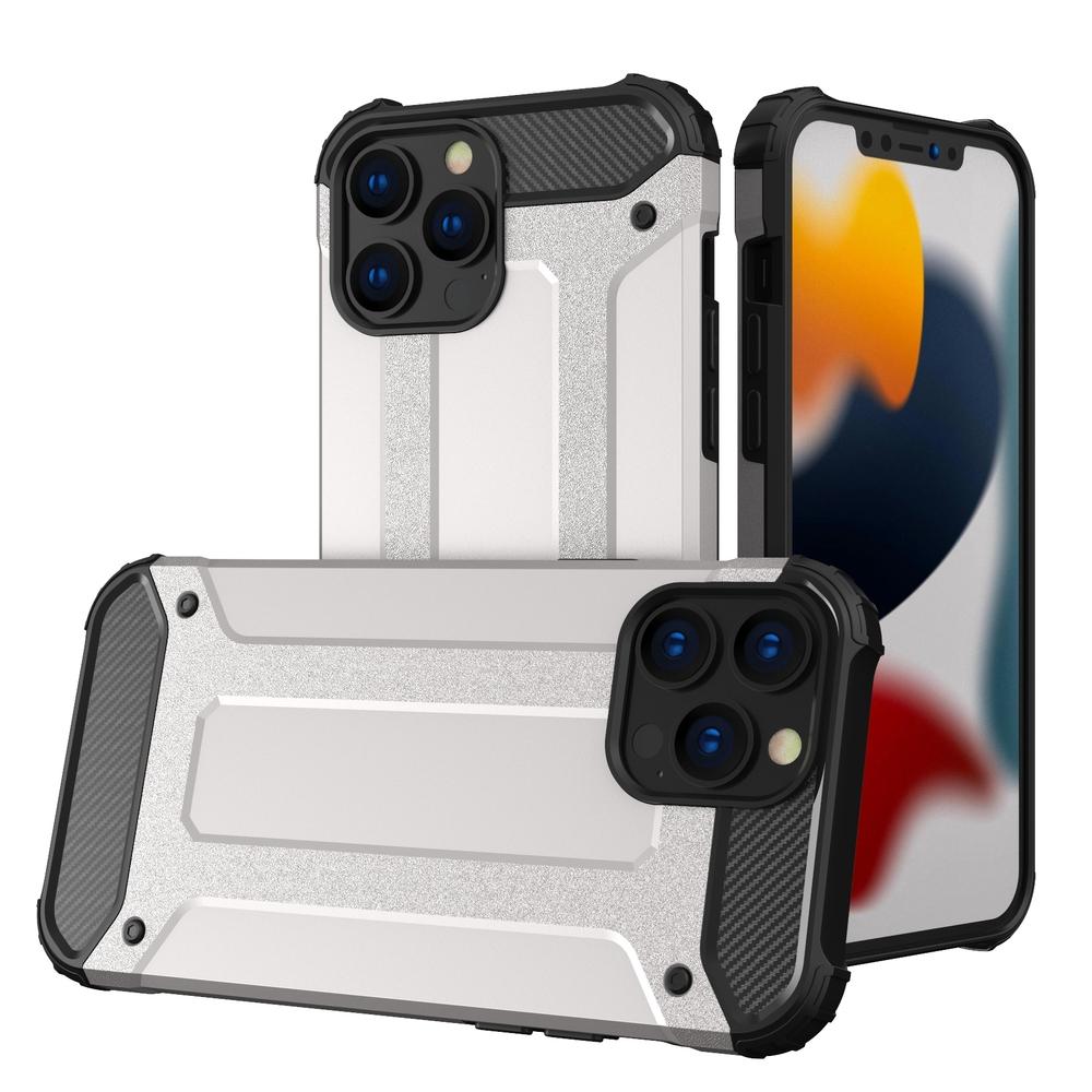 """Hybrid pancierové polykarbonátové púzdro preiPhone 13 Pro MAX 6.7"""" silver"""