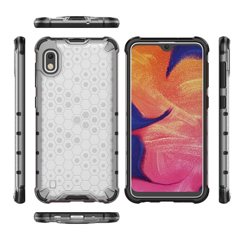 Honeycomb pancéřové pouzdro se silikonovým rámem pro Samsung Galaxy A10 transparent