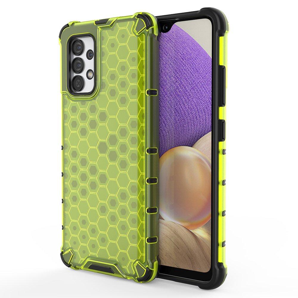 Honeycomb pancéřové pouzdro se silikonovým rámem pro Samsung Galaxy A32 4G green