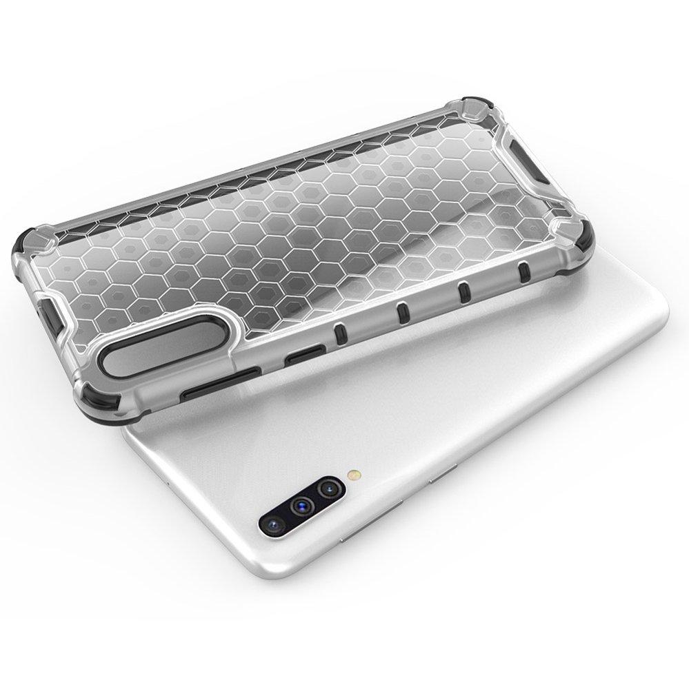 Honeycomb pancéřové pouzdro se silikonovým rámem pro Samsung Galaxy A50 transparent