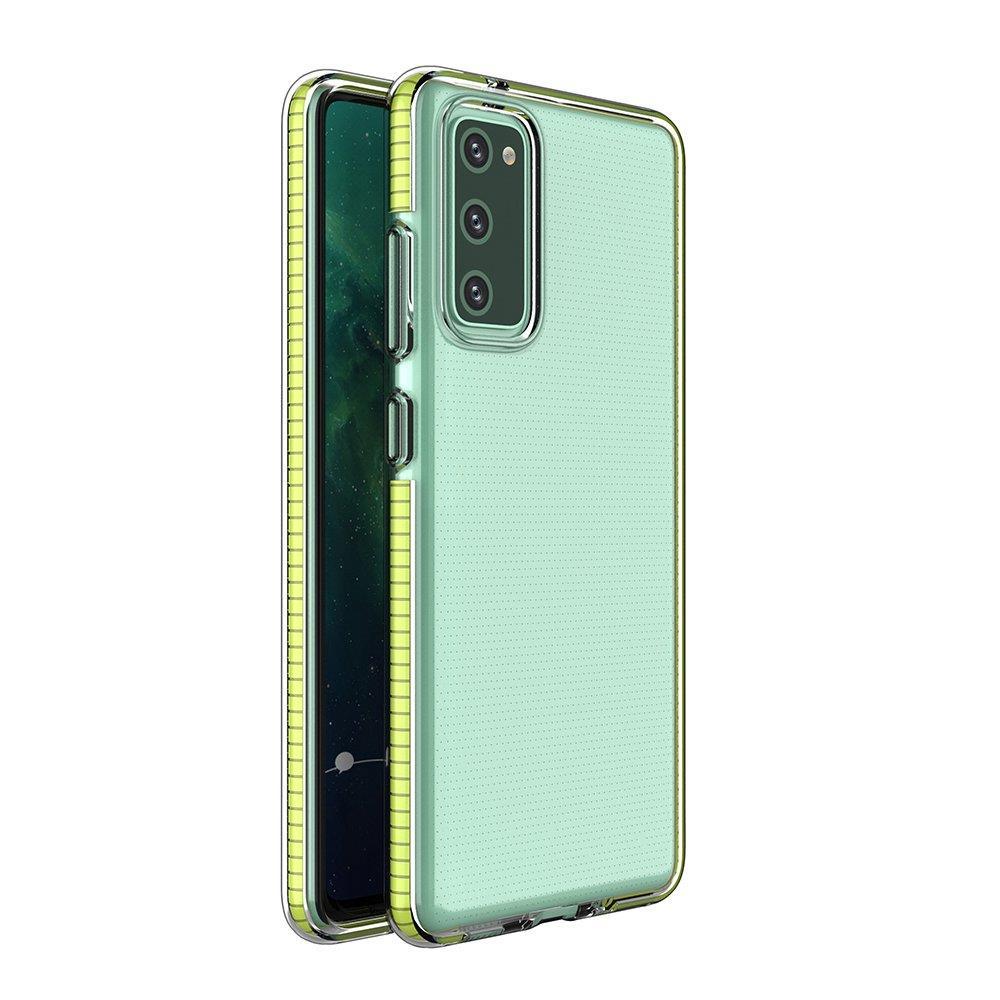 Spring silikónové puzdro s farebným lemom pre Samsung Galaxy S21 5G yellow