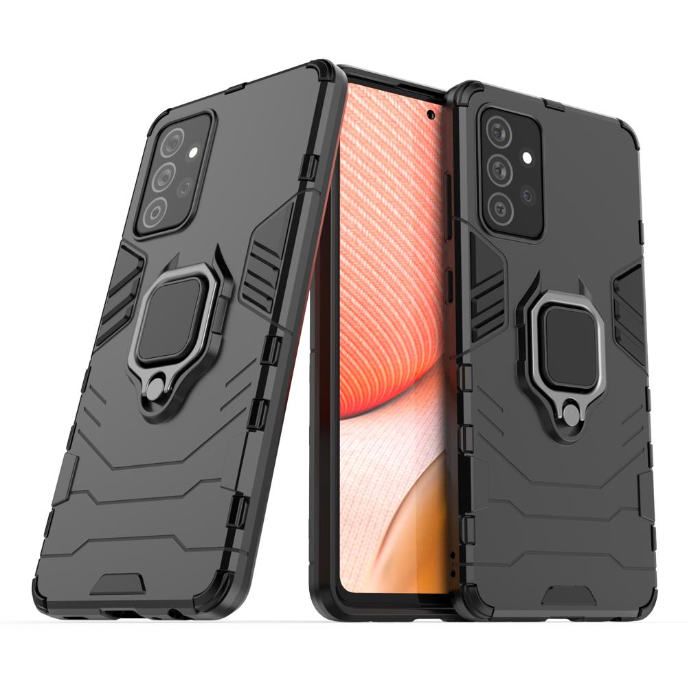 Hybrid pancierové polykarbonátové púzdro s krúžkom pre Samsung Galaxy A72 / A72 5G black