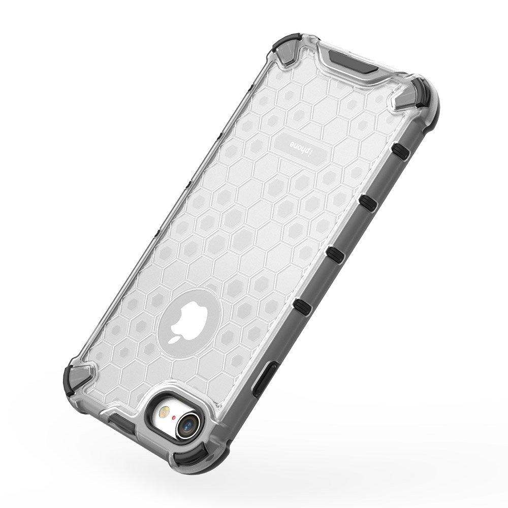 Honeycomb pancéřové pouzdro se silikonovým rámem pro iPhone 8 / iPhone 7 transparent