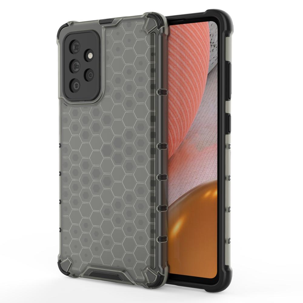 Honeycomb pancierové puzdro so silikónovým rámom pre Samsung Galaxy A72 / A72 5G black
