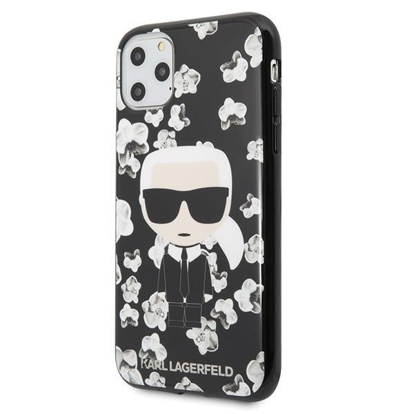 Karl Lagerfeld KLHCN58FLFBBK hard silikonové pouzdro iPhone 11 black Flower Ikonik Karl