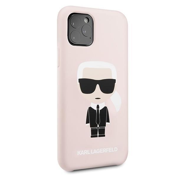 Karl Lagerfeld KLHCN58SLFKPI hard silikonové pouzdro iPhone 11 Pro light pink silicone Iconic