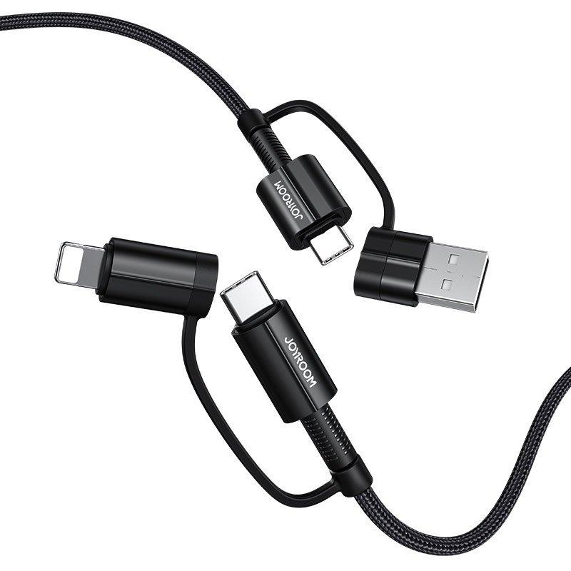 Joyroom S-1230G3 odolný nylonom opletený multifunkčný kábel 4v1 3A 1,2m black