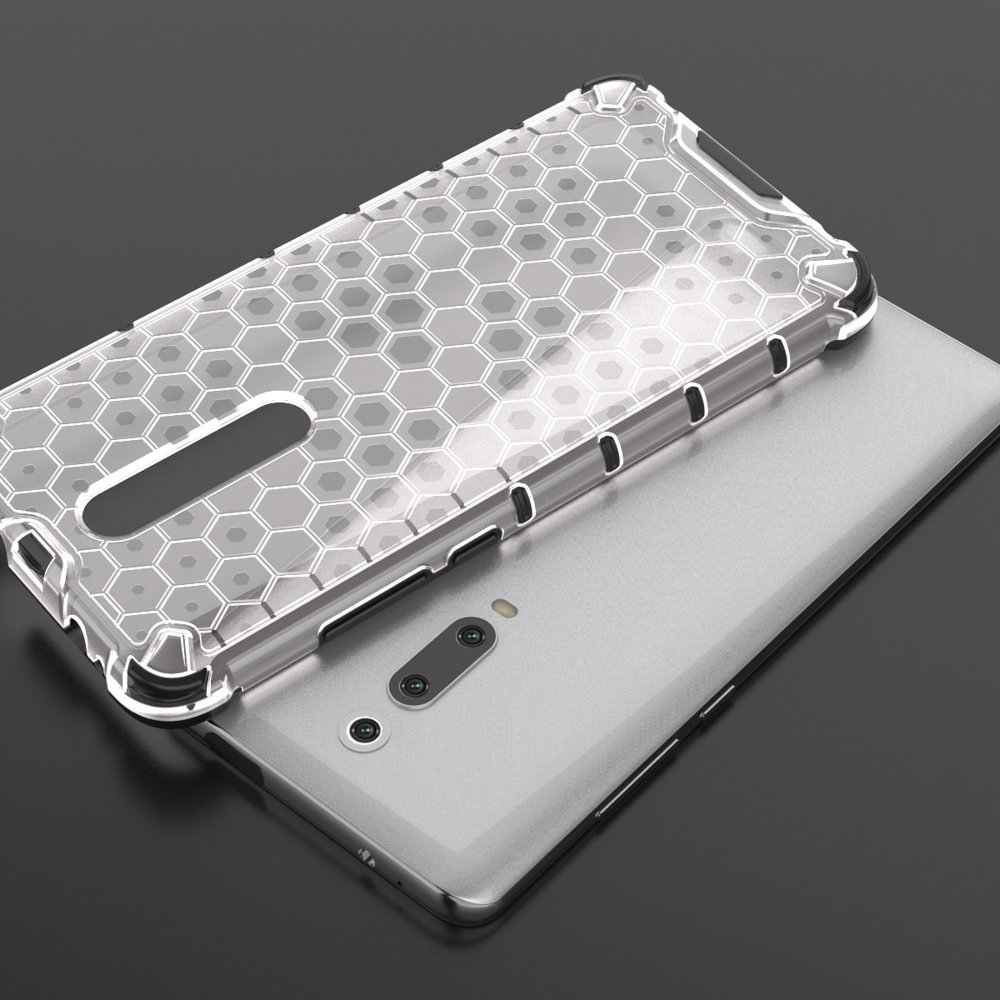 Honeycomb panceřové pouzdro se silikonovým rámem pro Xiaomi Mi 9T / Xiaomi Mi 9T Pro transparent