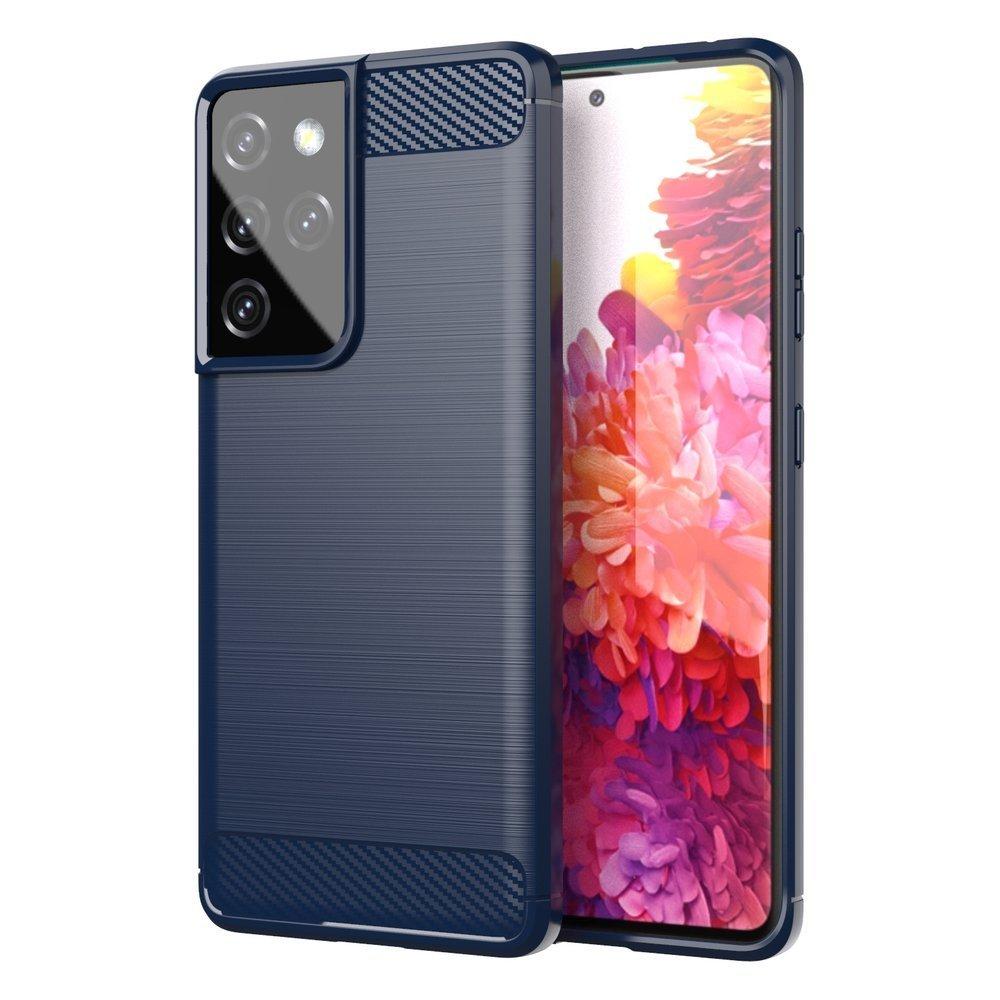 Carbon silikónové puzdro na Samsung Galaxy S21 ULTRA 5G blue