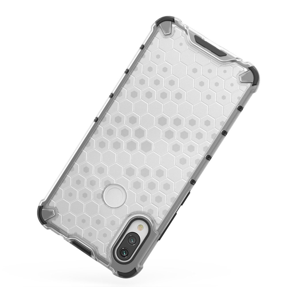 Honeycomb pancéřové pouzdro se silikonovým rámem pro Xiaomi Redmi Note 7 transparent