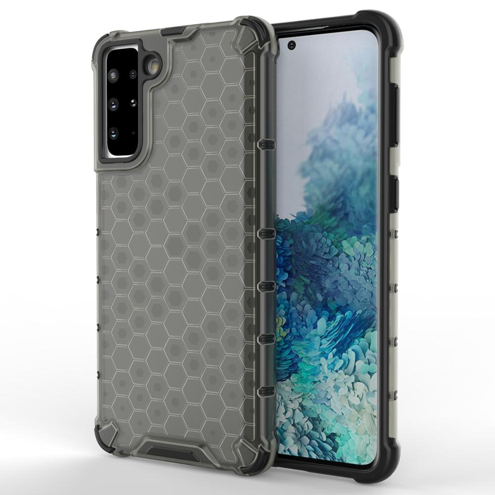 Honeycomb pancierové puzdro so silikónovým rámom pre Samsung Galaxy S21 PLUS 5G black