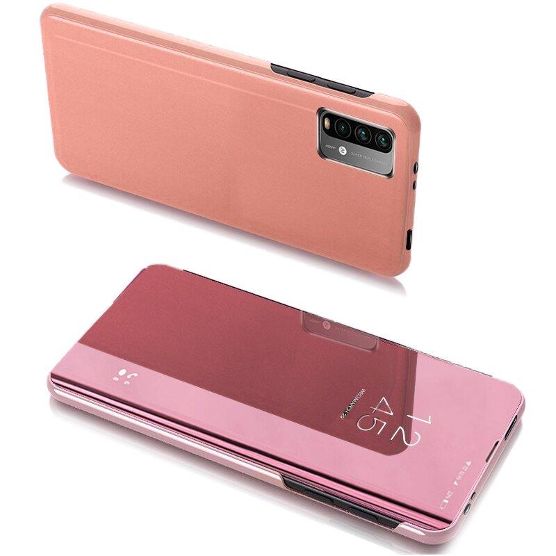 Knižkove púzdro pre Xiaomi Redmi 9T / Poco M3 pink s priehľadnou prednou stranou