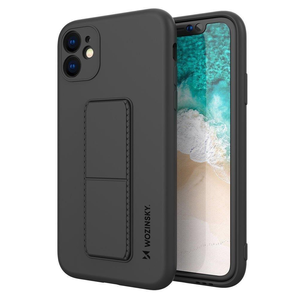 Wozinsky Flexibilné silikónové puzdro so stojanom na iPhone SE 2020 / iPhone 8 / iPhone 7 black