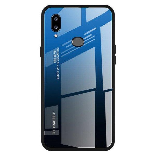 Gradient Glass tvrzené temperované ochranné sklo na zadní část na Samsung Galaxy A20e black-blue