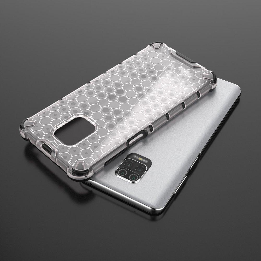 Honeycomb pancéřové pouzdro se silikonovým rámem pro Xiaomi Redmi Note 9S / 9 Pro red