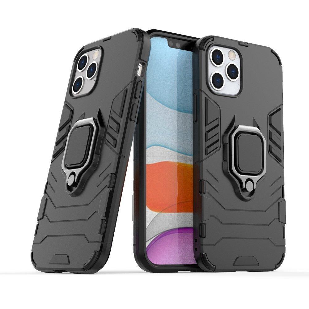 Pouzdro Ring Armor s magnetickým úchytem pro iPhone 12 Pro / iPhone 12 , černá