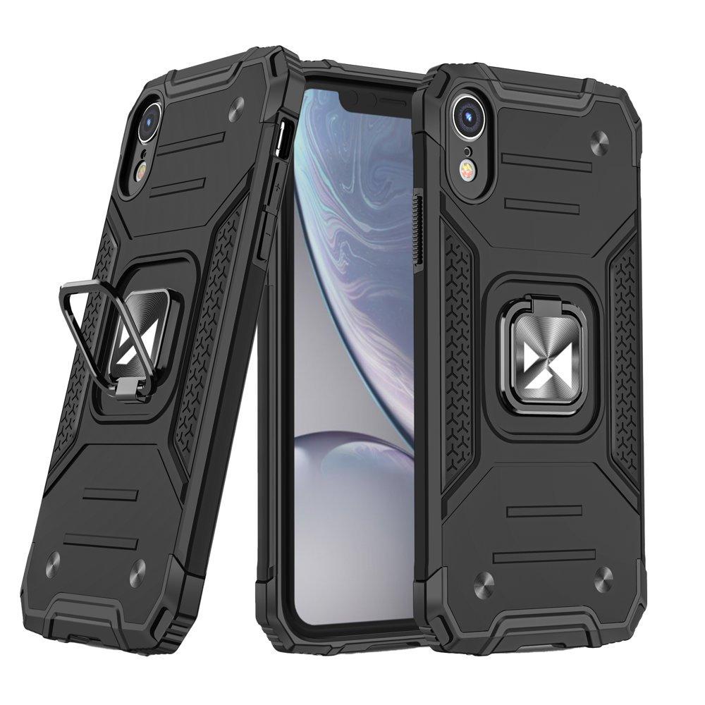 Wozinsky Hybrid pancierové púzdro s krúžkom pre iPhone XR black