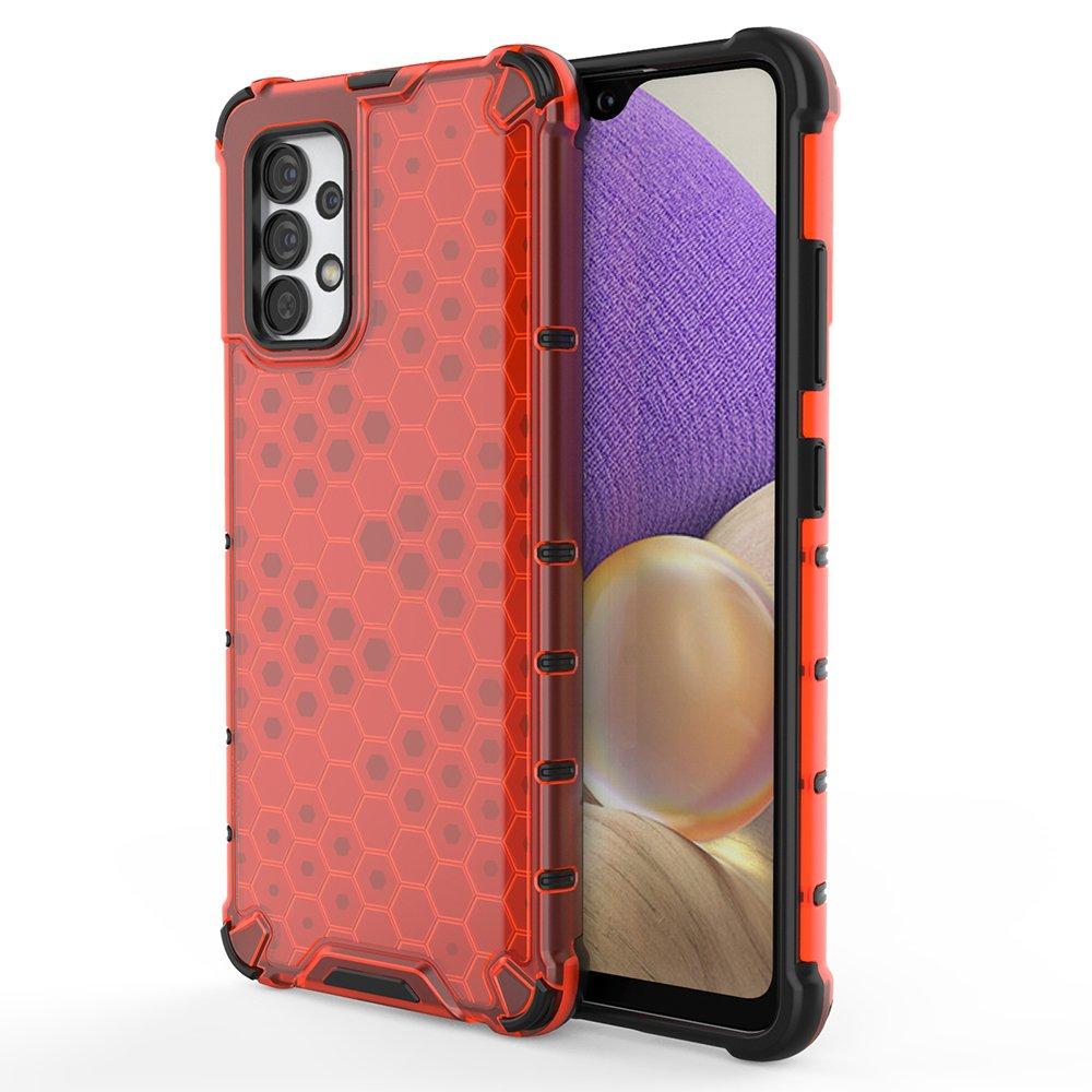 Honeycomb pancéřové pouzdro se silikonovým rámem pro Samsung Galaxy A32 4G red
