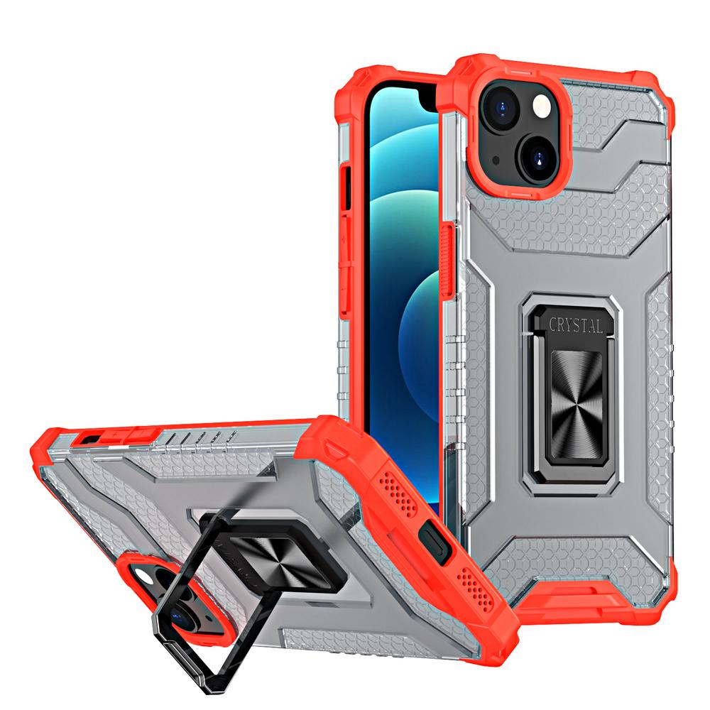 Robustný odolný kryt Kickstand na stojan na iPhone 13 červený