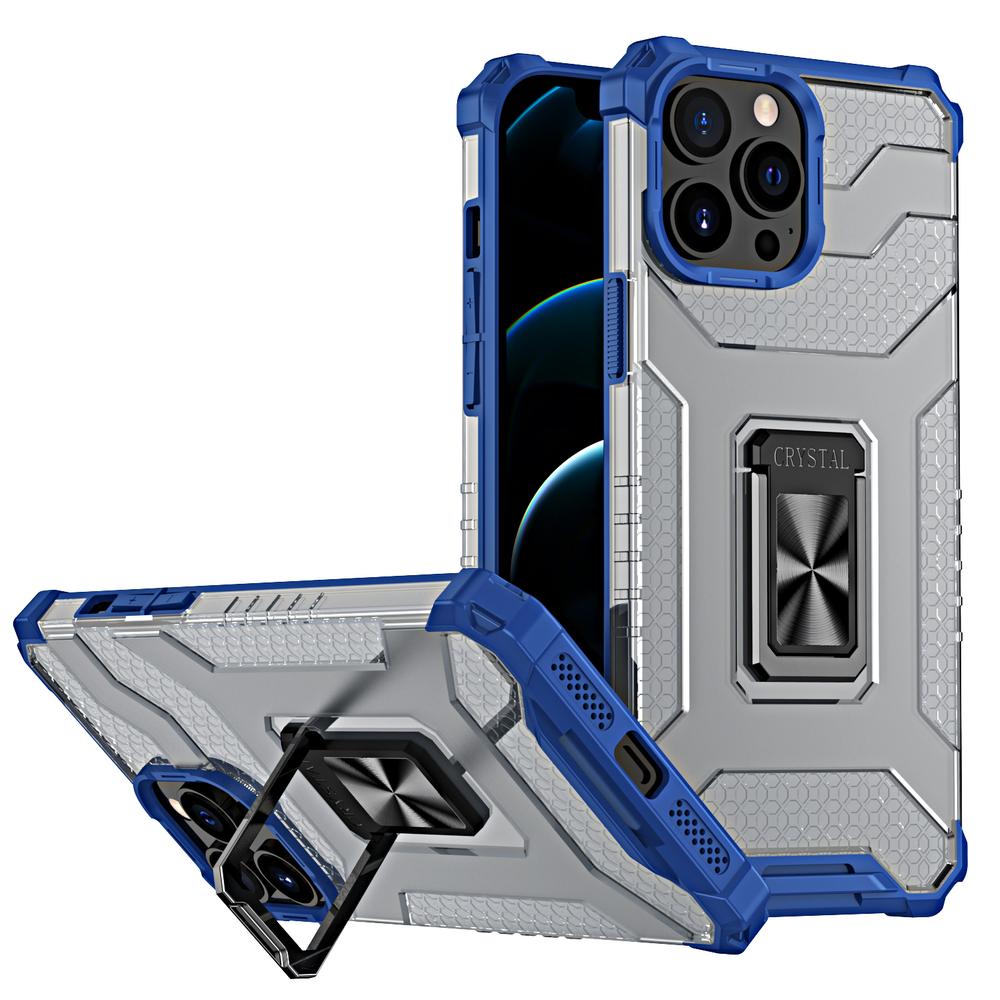 Pevný robustný kryt puzdra na krištáľový krúžok na iPhone 13 Pro Max modrý