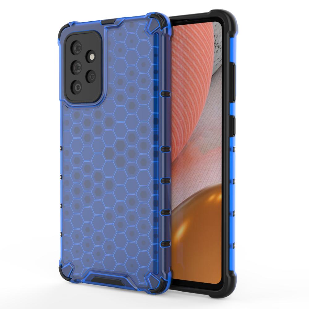 Honeycomb pancierové puzdro so silikónovým rámom pre Samsung Galaxy A72 / A72 5G blue
