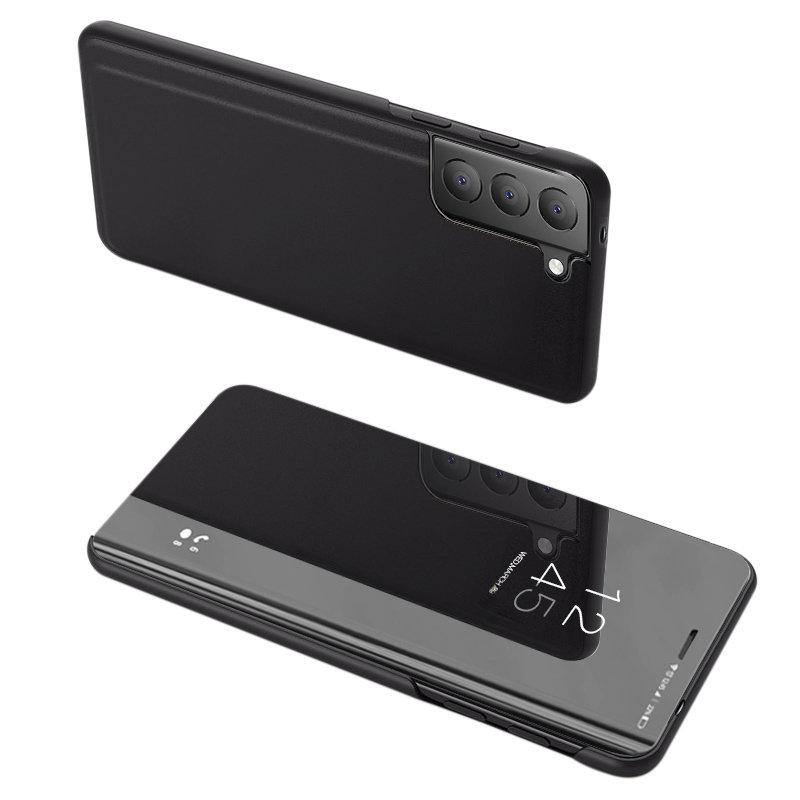 Knižkove púzdro pre Samsung Galaxy S21 FE 5G s priehľadnou prednou stranou black